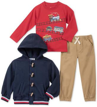 Kids Headquarters Baby Boys 3-Pc. Hooded Varsity Jacket, Train-Print T-Shirt & Twill Khaki Pants Set
