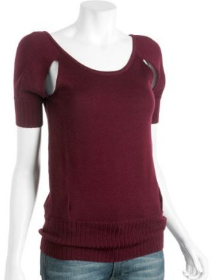 Geren Ford wine wool cutout scoopneck sweater