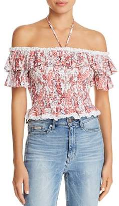 Lost and Wander Lost + Wander Sofia Smocked Paisley Halter Top