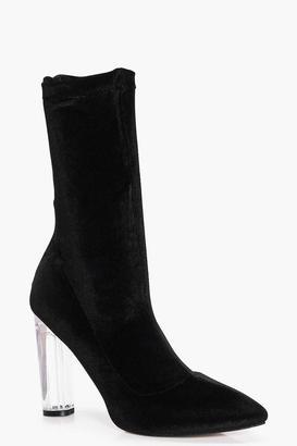 Nancy Velvet Clear Sock Boot