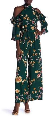 Flying Tomato Mock Neck Floral Print Jumpsuit