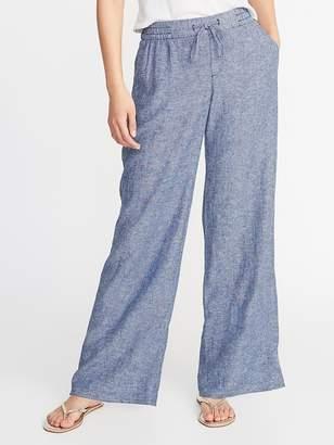Old Navy Mid-Rise Wide-Leg Linen-Blend Pants for Women