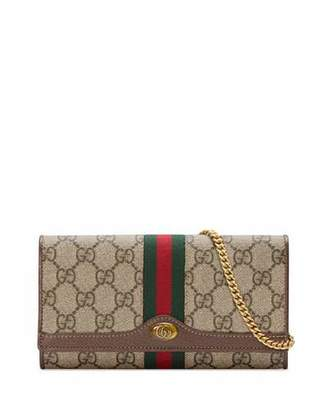 93a20a6064f4ae Gucci Ophidia GG Supreme Canvas Flap Wallet on Chain