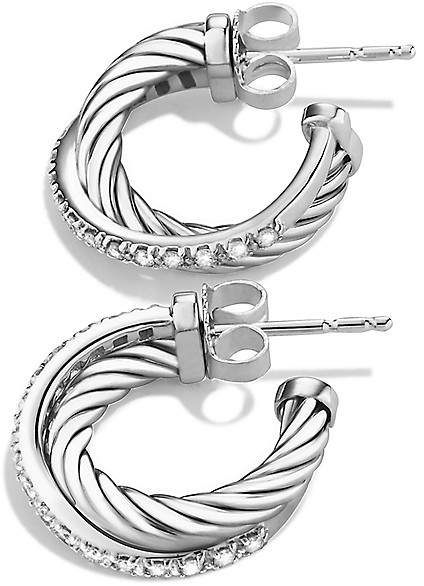 David Yurman Crossover Extra Small Hoop Earrings with Diamonds