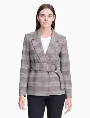 Calvin Klein plaid belted jacket