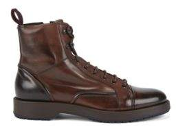 BOSS Hugo Lace-up boots in burnished leather lambskin lining 9 Dark Brown