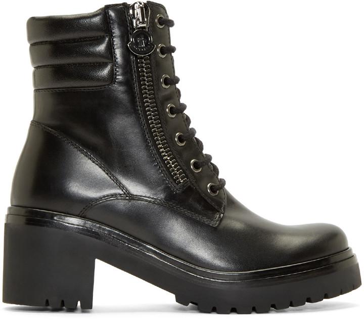 MonclerMoncler Black Leather Viviane Combat Boots