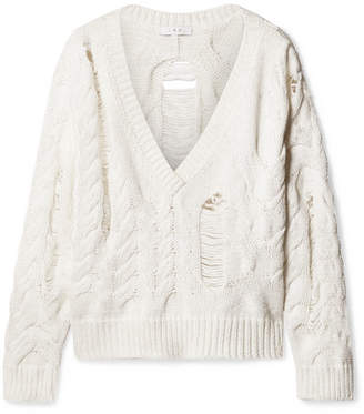 IRO Fighla Laddered Cable-knit Cotton-blend Sweater