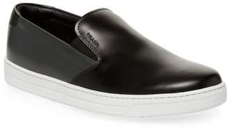 Prada Linea Rossa Men's Leather Slip-On Sneaker