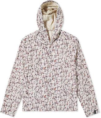 Lanvin Cracked Paint Print Hooded Jacket