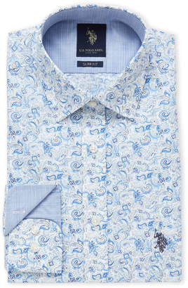 U.S. Polo Assn. Blue Paisley Slim Fit Dress Shirt
