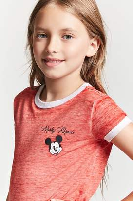 Forever 21 Girls Mickey Mouse Graphic Ringer Tee (Kids)
