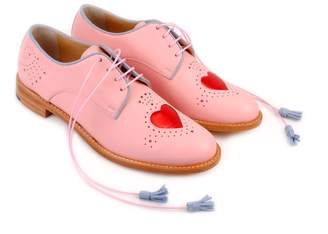 Abo Pale Pink & Red Heart Brogues