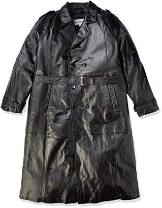 Excelled Men's Big Tall Leather Trench Coat
