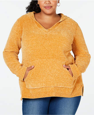 Planet Gold Trendy Plus Size Hooded Chenille Sweater