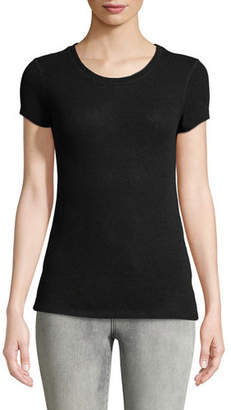 Majestic Short-Sleeve Crewneck Cashmere Top