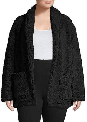 Lord & Taylor Plus Open-Front Teddy Coat