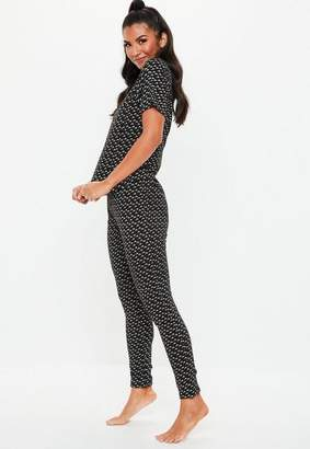 Missguided Black M Print T shirt & Leggings Pyjama Set