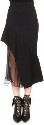 Givenchy Chiffon-Inset Asymmetric Ruffled Skirt $3,050 thestylecure.com