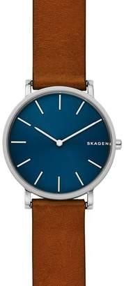 Skagen Brown Leather Strap Hagen Watch, 38mm
