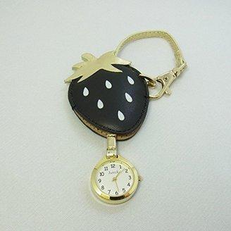 バックに付けるアクセサリー時計 ハングウォッチ イチゴ/ブラック