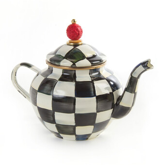 Mackenzie Childs Courtly Check 4-Cup Enamel Teapot