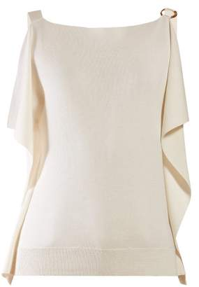 Chloé Draped Ring Embellished Cotton Blend Top - Womens - Ivory
