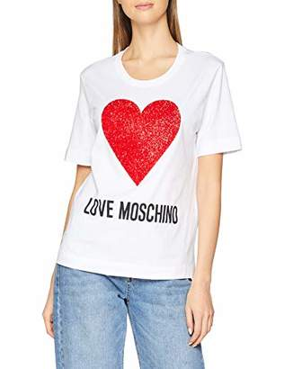 32261beb4f4 Love Moschino Women s Logo and Sequin Heart  Short Sleeve T-Shirt Optical  White A00