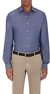 Piattelli MEN'S COTTON CHAMBRAY DRESS SHIRT-NAVY SIZE S