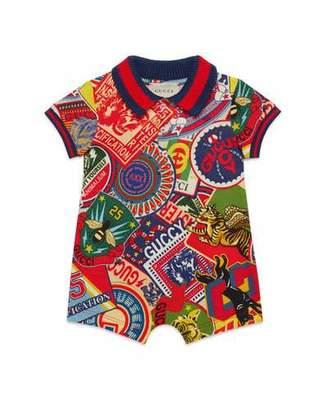 Gucci Logo Sticker Print Shortall w/ Web Knit Trim, Size 6-24 Months
