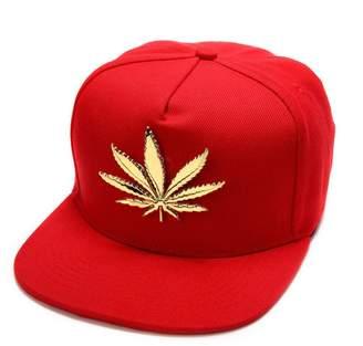 76d6b2add97 MCSAYS New Trend Gold Plated Marijuana leaf Flat Brim Hip Hop Cotton Unisex Baseball  Cap