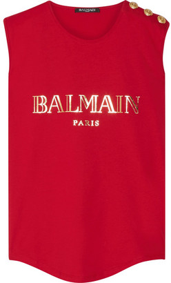 Balmain - Button-embellished Printed Cotton-jersey Top - Red $265 thestylecure.com