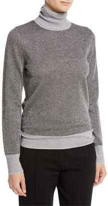 Joseph High-Neck Metallic-Knit Sweater