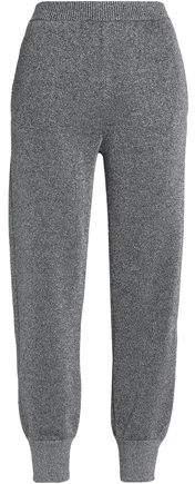 Metallic Stretch-Knit Tapered Pants