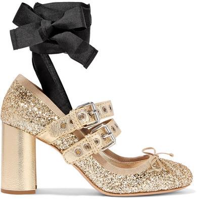 Miu Miu - Lace-up Glittered Leather Pumps - Gold