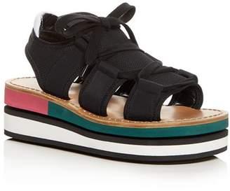 Marni Color-Block Platform Wedge Sandals