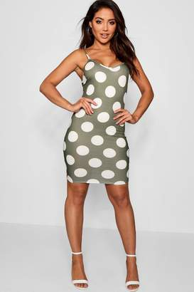 boohoo Large Polka Dot Print Cami Mini Dress