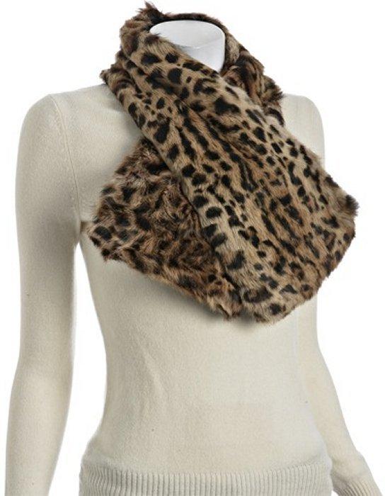 Adrienne Landau light brown leopard rabbit fur pull through scarf