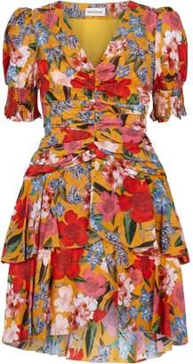 Nicholas Puff Sleeve Floral Pintuck Mini Dress