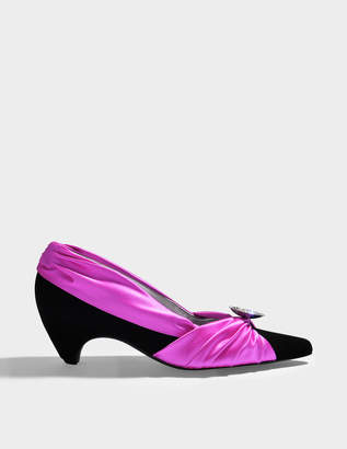 Stella McCartney Satin Two Tone Pumps in Hot Pink and Black Silk and Viscose