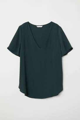 H&M Short-sleeved Viscose Blouse - Green