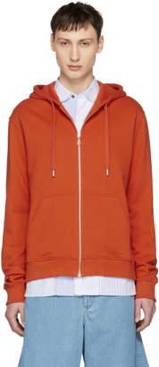 Kenzo Orange Logo Zip Hoodie
