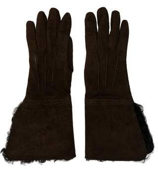 CNC Costume National Suede Shearling Gloves