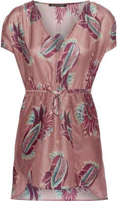 Vix Agata Printed Cotton And Silk-blend Mini Dress - Plum