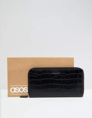 0cefb6c6d88f Asos Design DESIGN leather travel wallet in black crocodile emboss