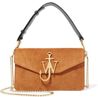 Logo Leather-trimmed Suede Shoulder Bag - Camel