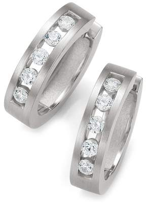 Breuning Sterling Silver Channel Set CZ 19mm Huggie Hoop Earrings