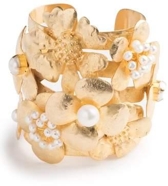 Josie Natori Gold Brass Peony Bracelet