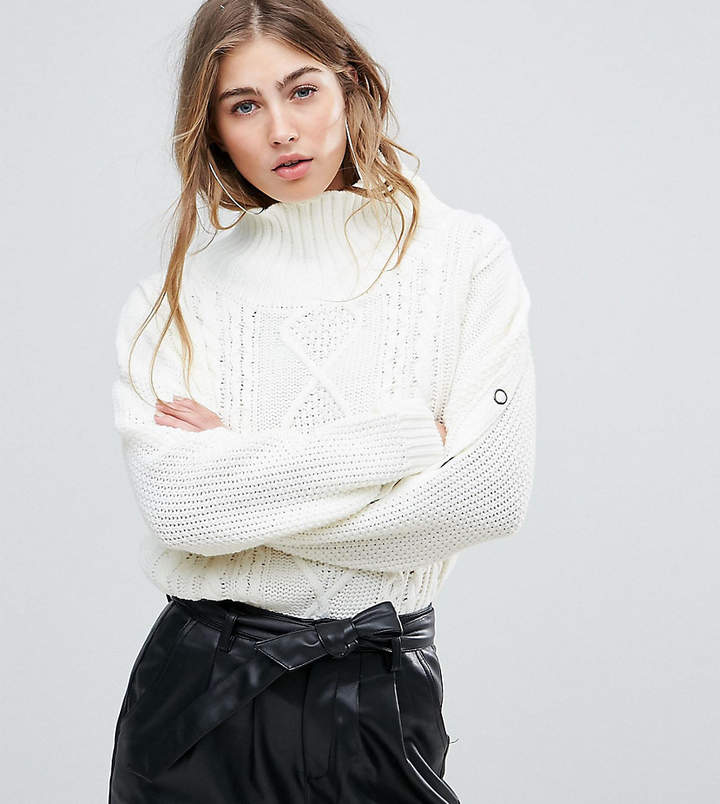 Missguided Cable Knit Popper Sleeve Sweater