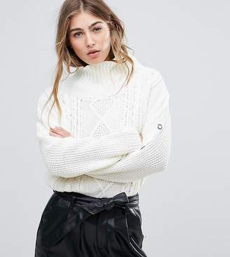 Missguided Cable Knit Popper Sleeve Jumper